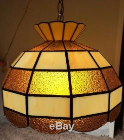 Tiffany Style Brown and Beige 15 Hanging Lamp Shade Light Scallop Details Works