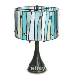 Tiffany Style Stained Glass Blue Contemporary Table Lamp 14 Shade New