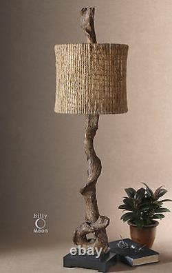 Two Farmhouse 40 Weathered Driftwood Look Table Lamps Natural Twine Shades