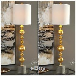 Two Modern Gold Finish MID Century Table Lamps