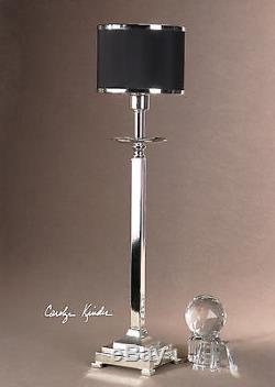 Two Rich Silver Plated Metal Table Lamps Black Drum Shades Silver Metal Trim