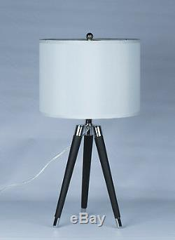 Urbanest Black Modern Tripod Leather & Chrome Table Lamp with 14 Drum Shade