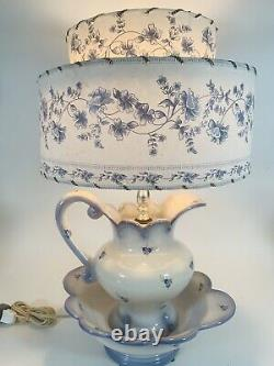 VTG Blue & White Pitcher & Bowl Lamp with Double Parchment Shade Cottage Flowers
