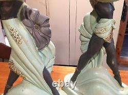 VTG MCM CONTINENTAL ART Co. Chalkware Figural Lamps In Teal-black