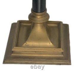 Vintage Brass Chapman 3-Way Library Table Lamp with Black Silk Shade