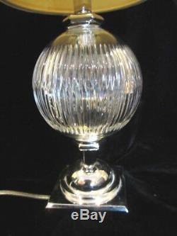 Vintage CHROME WATERFORD accent table crystal LAMP+drum shade ASHLING 22 MCM