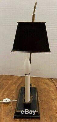Vintage Empire Style LAMP French Tole Candlesticks Black Shade Gold Drum & Horns