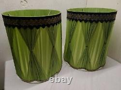 Vintage MCM Hollywood Regency Drum Lamp Shade Green with Black & Gold Piping
