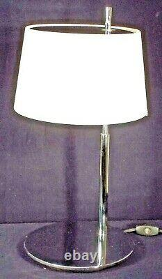 Vintage MID Century Chrome Lamp With Milk Glass Drum Shade