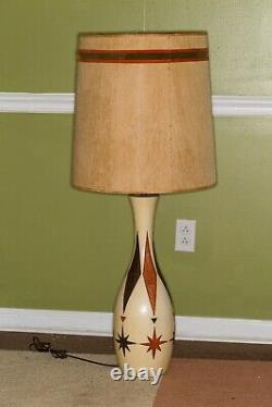 Vintage Mid-Century Fortune Lamp Co. Bowling Pin Lamp with Shade RARE
