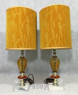 Vintage Pair Mid Century Amber Glass Lamps Marble Base Yellow Orange Shades