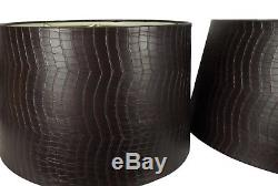 Vintage Pair of Shallow Drum Lamp Shades Embossed Leather Alligator