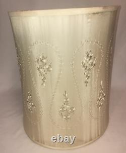 Vintage Silk Ivory Embroidered Drum Lamp Shade Hollywood Regency 16x21 AS IS