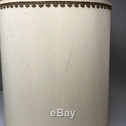 Vintage Stiffel Fabric Drum Lamp Shade with Gold Piping