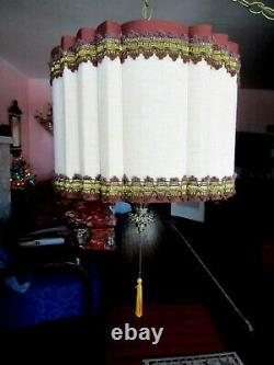 Vintage mid century retro drum Fluted shade Hanging Swag Lamps pull chain 2 lite