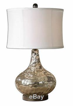 Vizzini Modern Silver Water Glass Table Lamp, Drum Shade 25H- Uttermost 26453-1