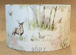 Voyage stag deer pheasant country Enchanted Forest drum lamp shade large 35 45cm