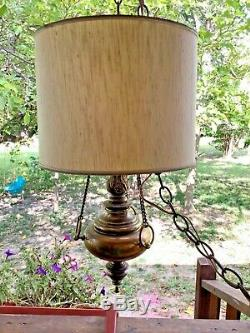 Vtg mcm modern Mid Century Hanging brass Swag Lamp drum Shade light fixture