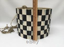 Whimsical Hand Painted Hanging Lamp Black/White Check Drum Shade 13 1/2