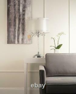 White Elegant Sphere Shaped Crystals Double Drum Fabric Shade Table Lamp 30H