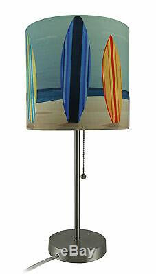 Zeckos Set of 2 Stainless Steel Table Lamps with Decorative Surfboard Shades